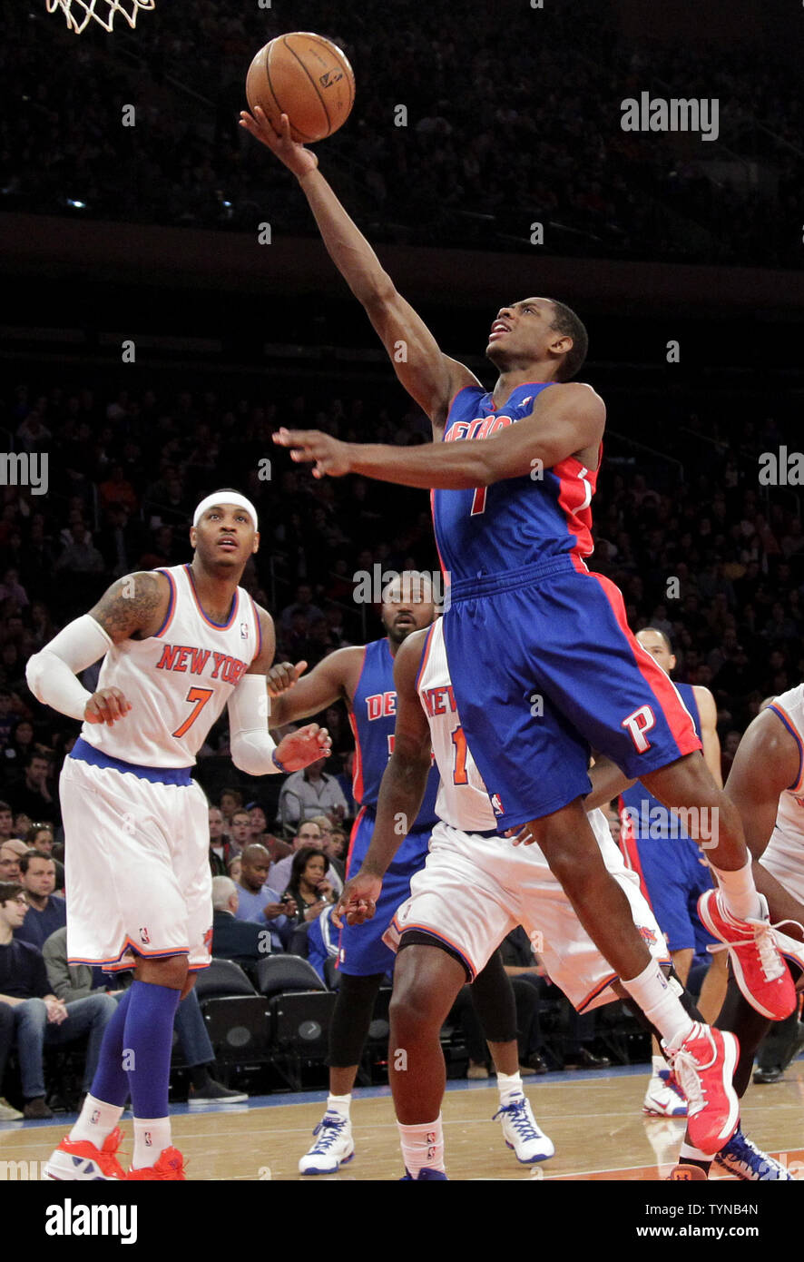 New York Knicks Carmelo Anthony watches Detroit Pistons Andre Drummond drive to the basket in the first quarter at Madison Square Garden in New York City on November 25, 2012.     UPI/John Angelillo Stock Photo