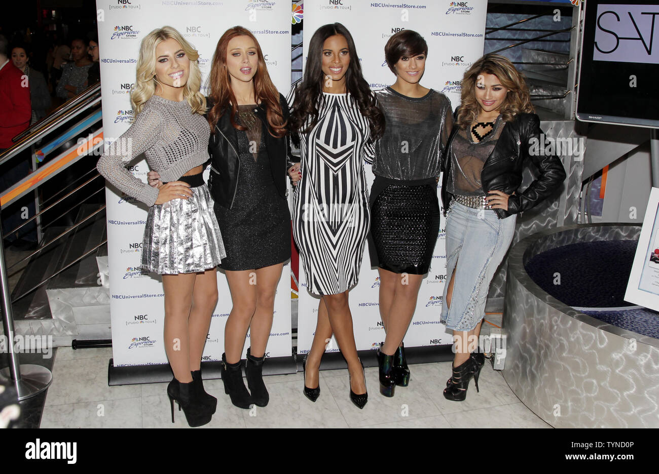 Mollie King, Una Healy, Rochelle Humes, Frankie Sandford and Vanessa White of The Saturdays promote 'Chasing The Saturdays' at the NBC Experience Store in New York City on January 17, 2013.       UPI/John Angelillo - Stock Image
