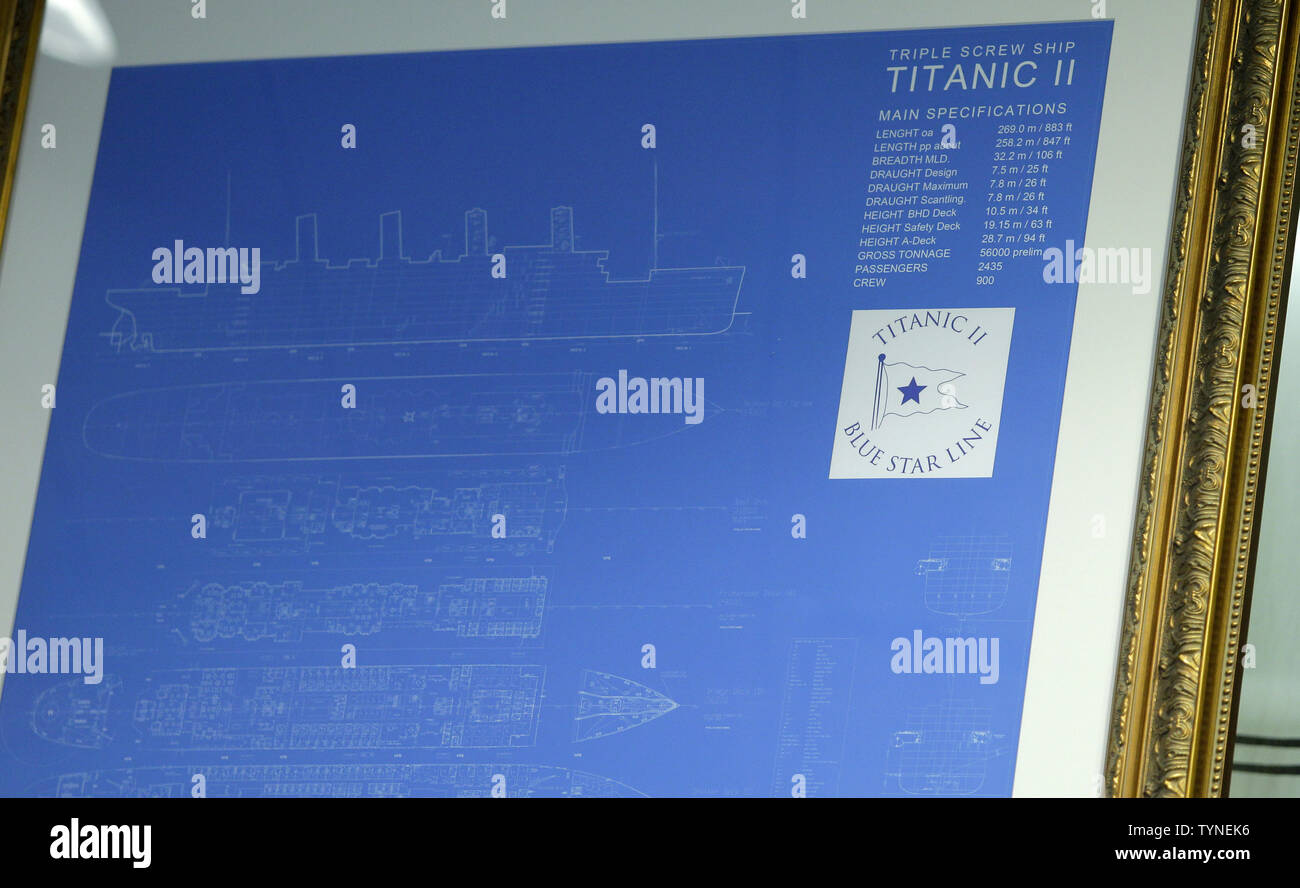 Blueprints for the Titanic II cruise ship are on display as Australian billionaire and chairman of the shipping company Blue Star Line, Clive Palmer, discusses plans for the company's planned Titanic II cruise ship at the Intrepid Sea, Air & Space Museum in New York City on February 26 2013. The ship was designed by marine engineering company Deltamarin Ltd. of Raisio, Finland, and is scheduled to be completed by 2016 by the CSC Jinling Shipyard Co. in China.    UPI/John Angelillo - Stock Image