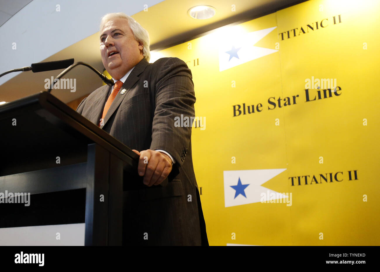 Australian billionaire and chairman of the shipping company Blue Star Line, Clive Palmer, discusses plans for the company's planned Titanic II cruise ship at the Intrepid Sea, Air & Space Museum in New York City on February 26 2013. The ship was designed by marine engineering company Deltamarin Ltd. of Raisio, Finland, and is scheduled to be completed by 2016 by the CSC Jinling Shipyard Co. in China.    UPI/John Angelillo - Stock Image