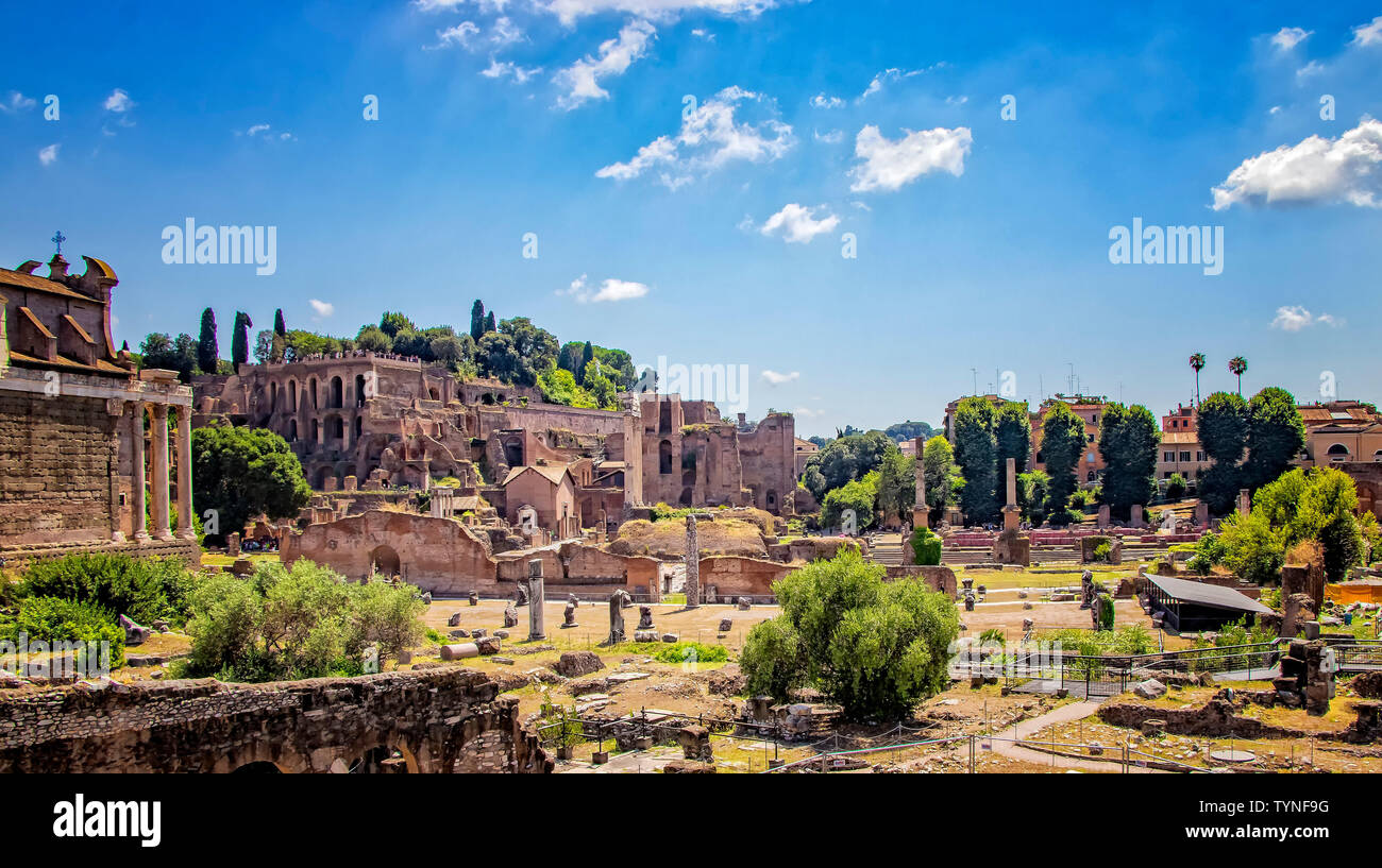 Stones Ruins Of The Forum Romanum At Sunny Day There Are