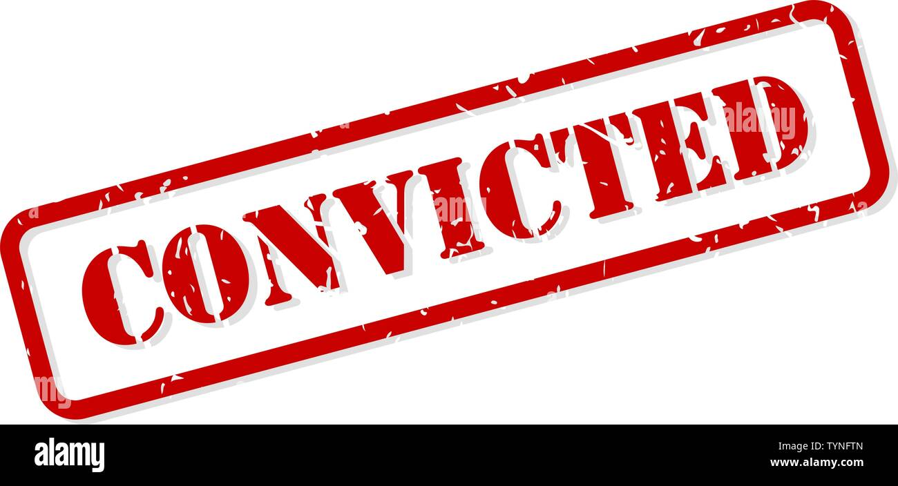 Convicted red rubber stamp vector isolated - Stock Image