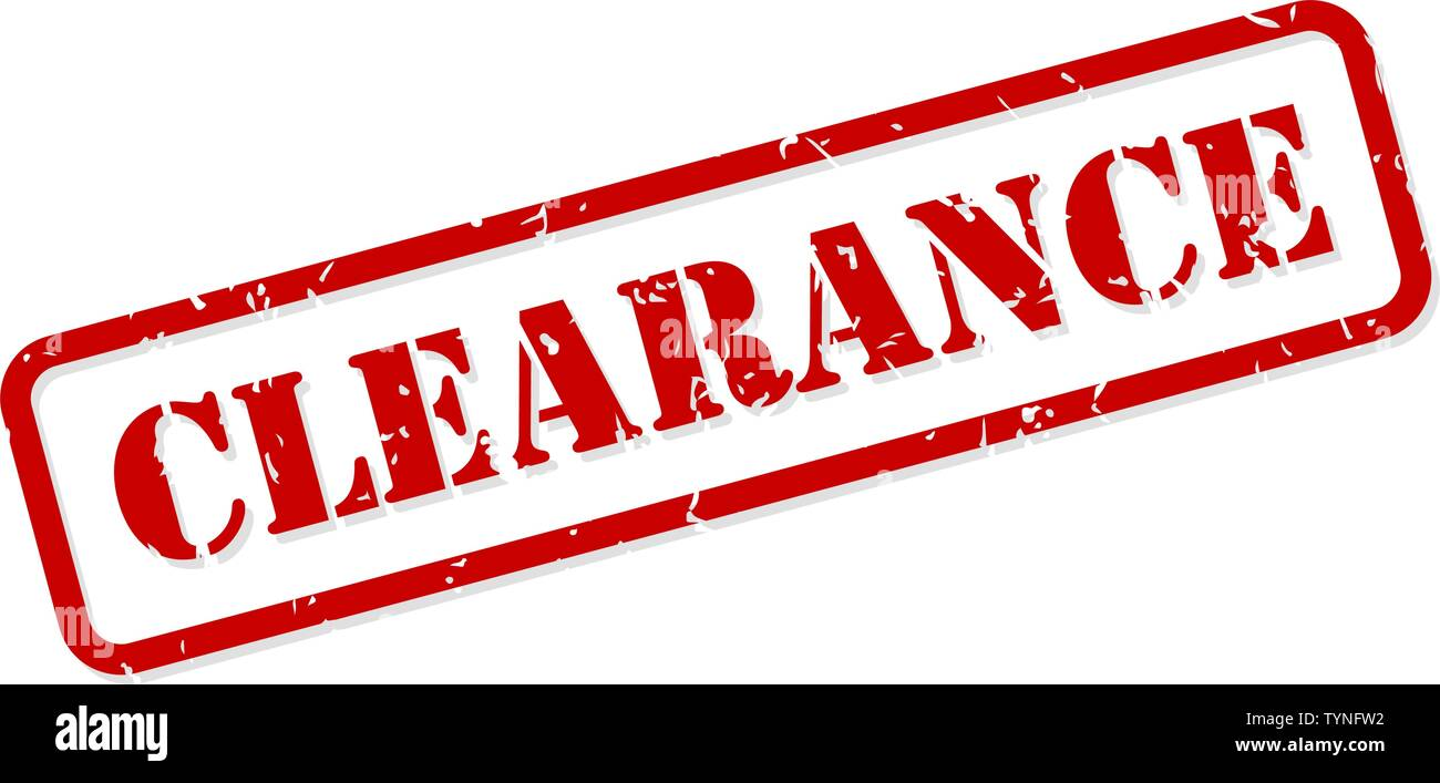 Clearance red rubber stamp vector isolated - Stock Image