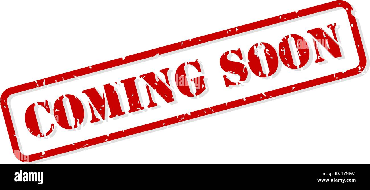 Coming soon red rubber stamp vector isolated - Stock Image