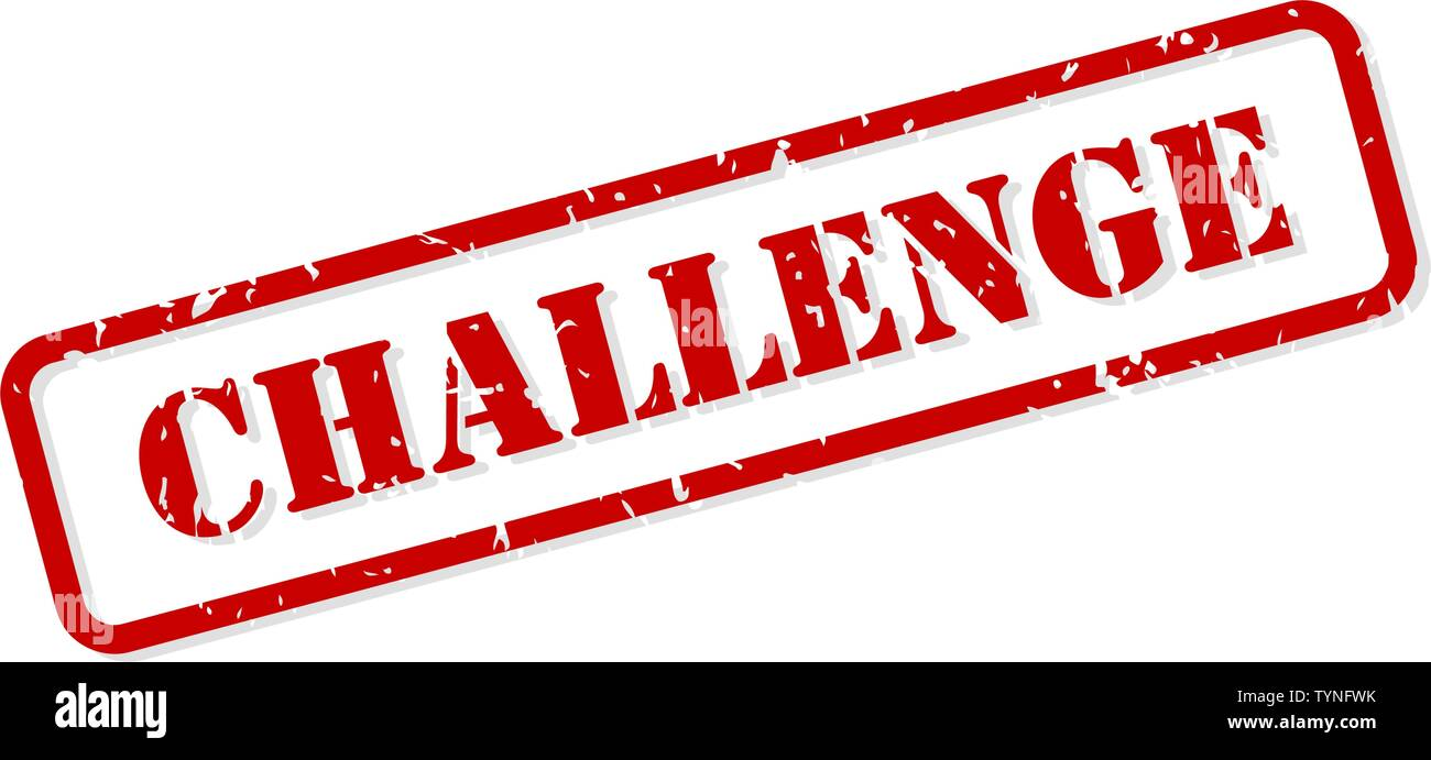 Challenge red rubber stamp vector isolated - Stock Image
