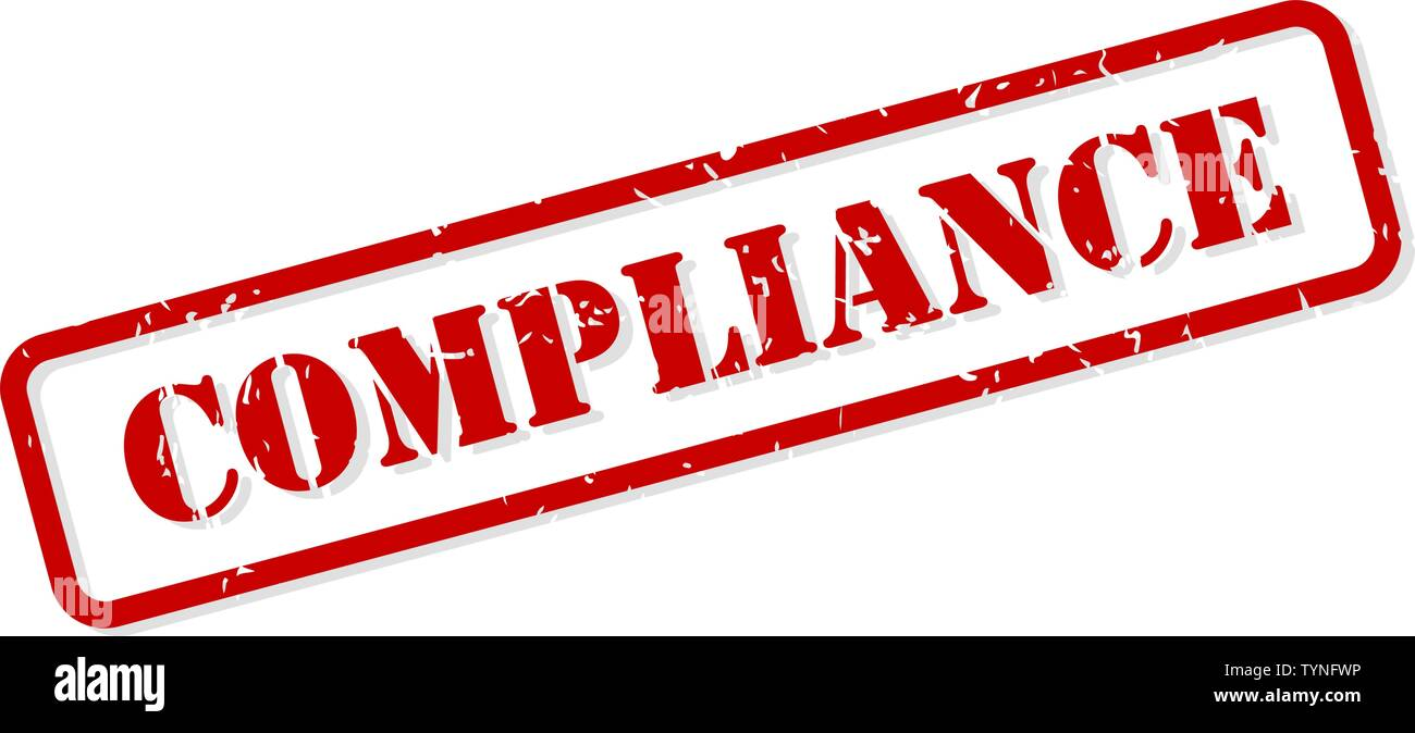 Compliance red rubber stamp vector isolated - Stock Image