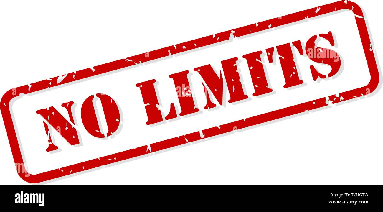 No limits red rubber stamp vector isolated - Stock Image