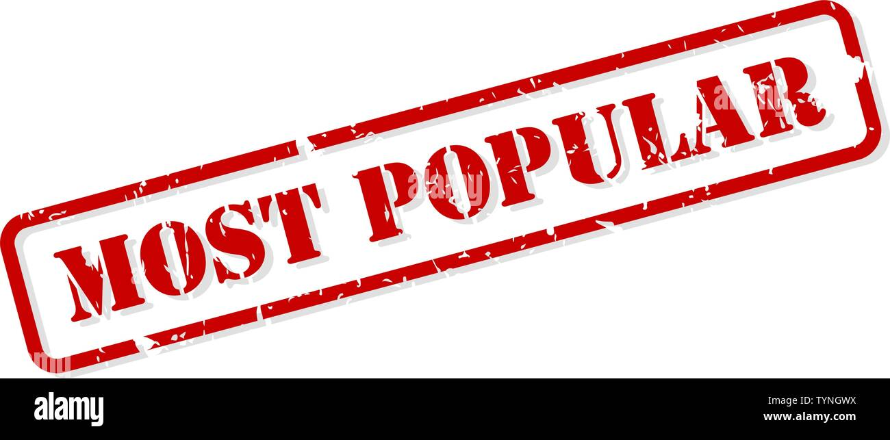 Most popular red rubber stamp vector isolated - Stock Image