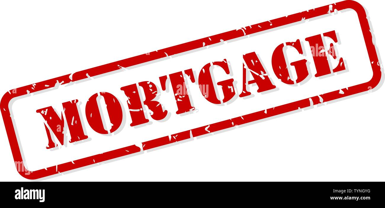 Mortgage red rubber stamp vector isolated - Stock Image