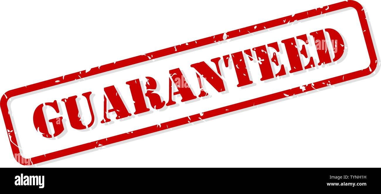 Guaranteed red rubber stamp vector isolated - Stock Image