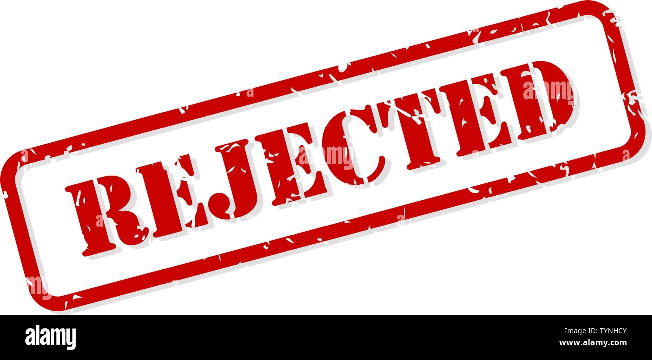 Rejected red rubber stamp vector isolated - Stock Image
