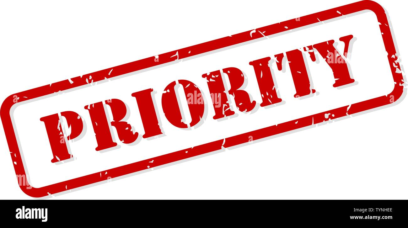 Priority red rubber stamp vector isolated - Stock Image