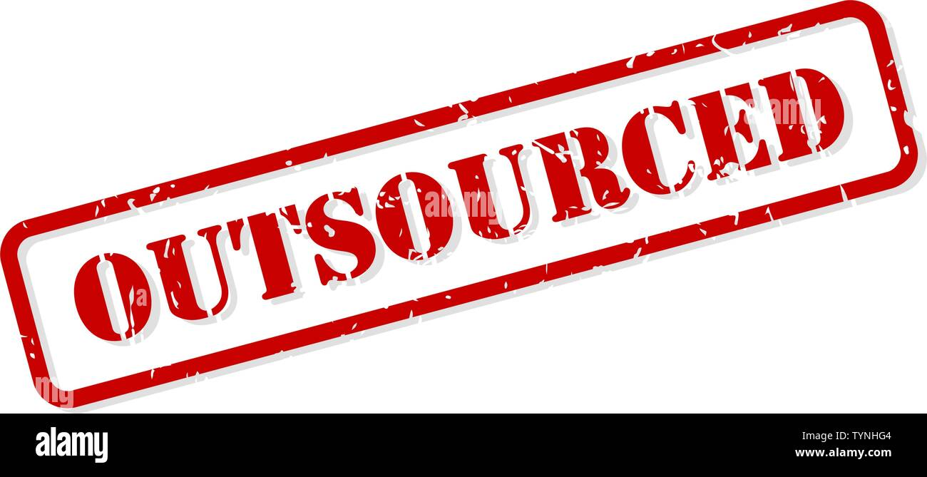 Outsourced red rubber stamp vector isolated - Stock Image