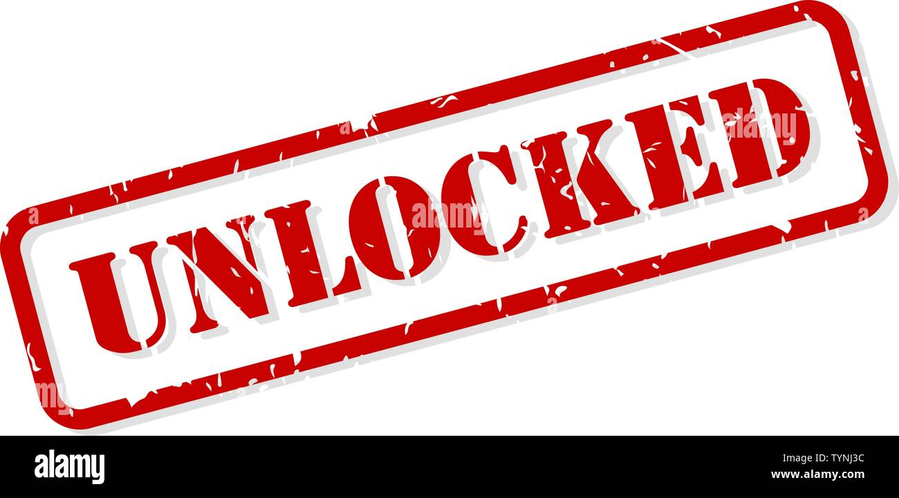 Unlocked red rubber stamp vector isolated - Stock Image