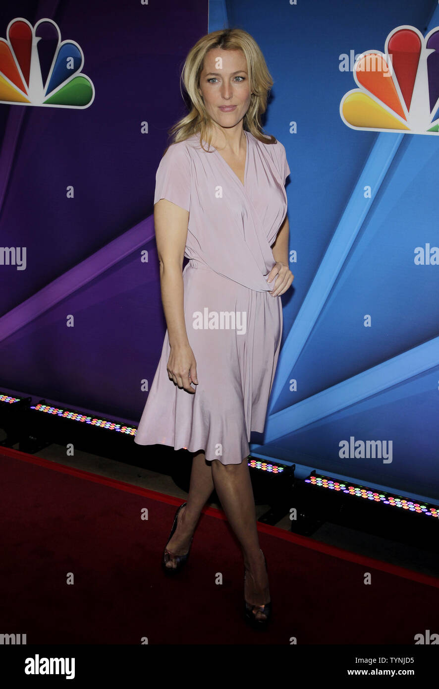 Gillian Anderson arrives on the red carpet at the 2013 NBC Upfront Presentation at Radio City Music Hall in New York City on May 13, 2013.    UPI/John Angelillo Stock Photo
