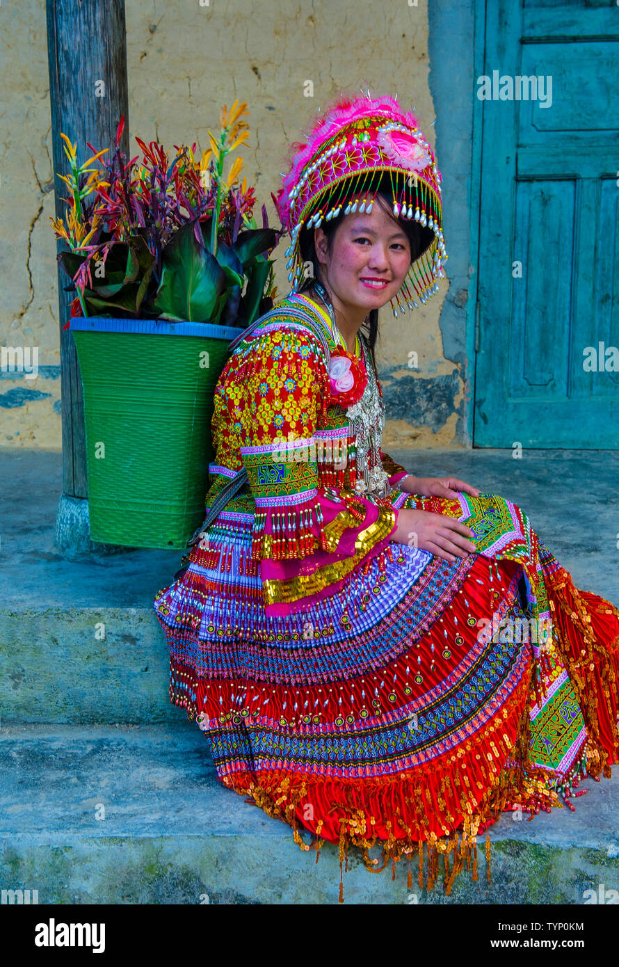 Girl from the Hmong minority in a village near Dong Van in Vietnam - Stock Image