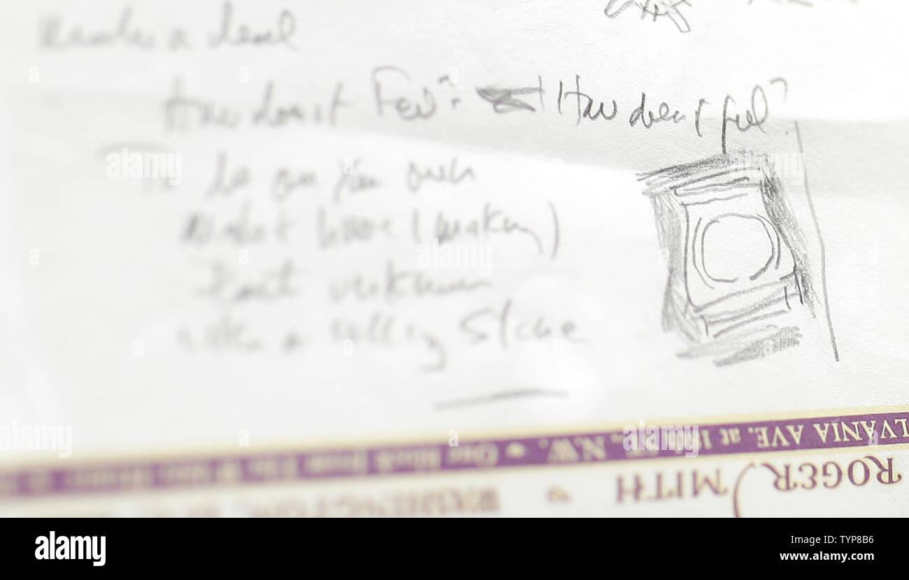 The handwritten lyrics for Bob Dylan's 'Like a Rolling Stone