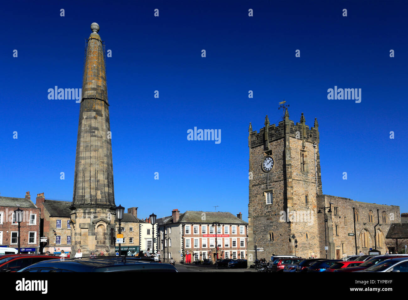Market Square and Obelisk, Richmond town; North Yorkshire; England; UK Stock Photo