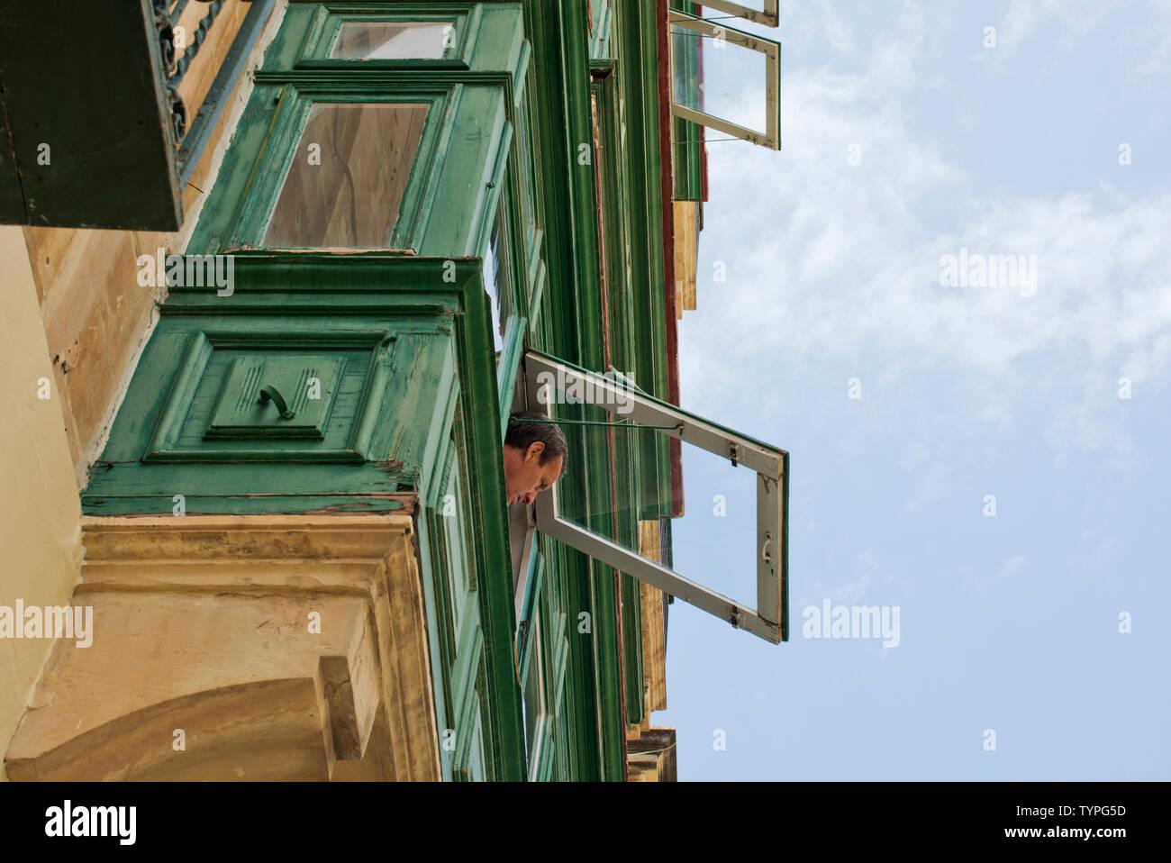 Beautiful elaborate Baroque architectural buildings in Valletta Malta's capital city centre streets - Stock Image