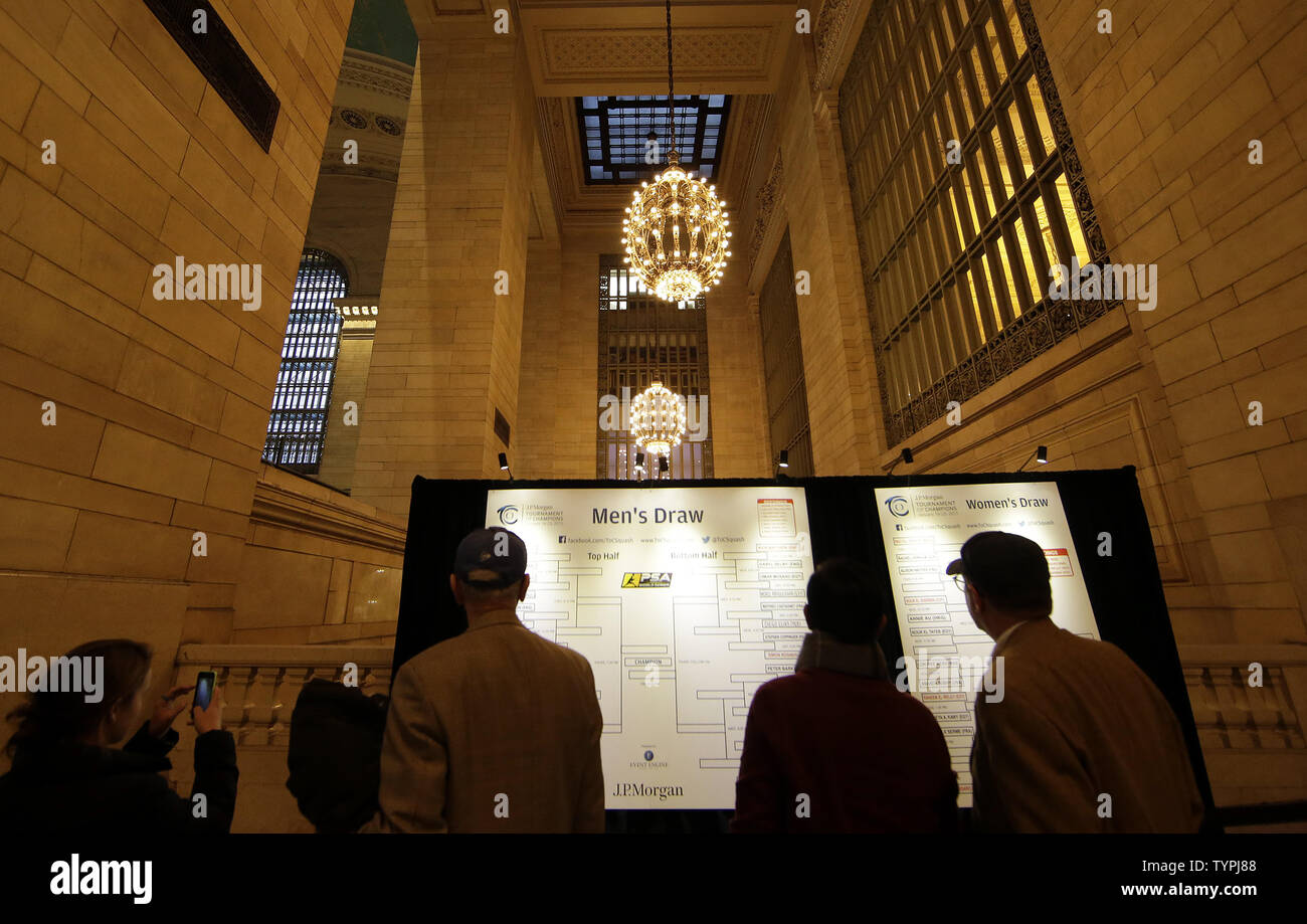 The Men's and Woman's Draw is on display at JPMorgan Chase & Co.'s 18th annual  'Tournament of Champions' Professional Squash Tournament in Grand Central Terminal in New York City on January 16, 2015. The annual tournament is scheduled to continue through January 23rd.      Photo by John Angelillo/UPI - Stock Image