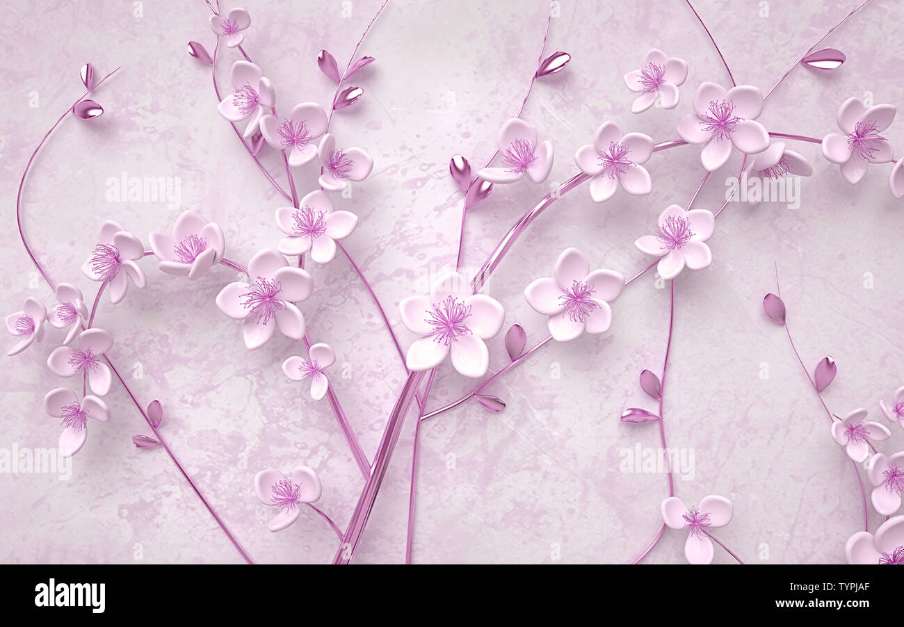3d Wallpaper Pink And Purple Branches Flowers And Butterfly With