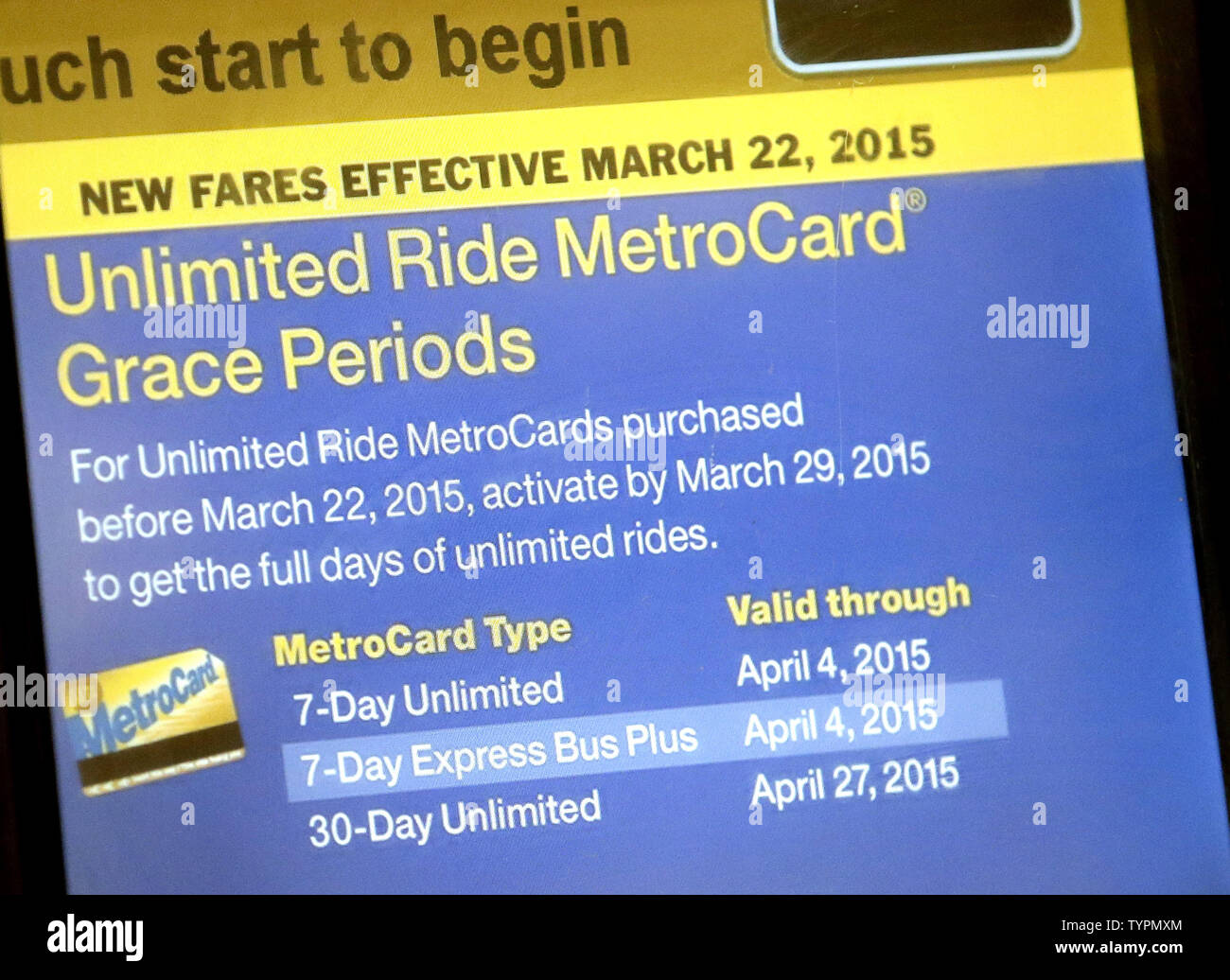 A machine to purchase MetroCard's is in working condition on the Houston Street subway station in New York City on March 23, 2015. Commuters faced higher prices Monday morning after MTA fares went up over the weekend on subways, buses and commuter rails as well as at toll booths. Fare increases kicked in Sunday as part of a series of increases in recent years built into the cash-strapped MTA's budget.    Photo by John Angelillo/UPI - Stock Image