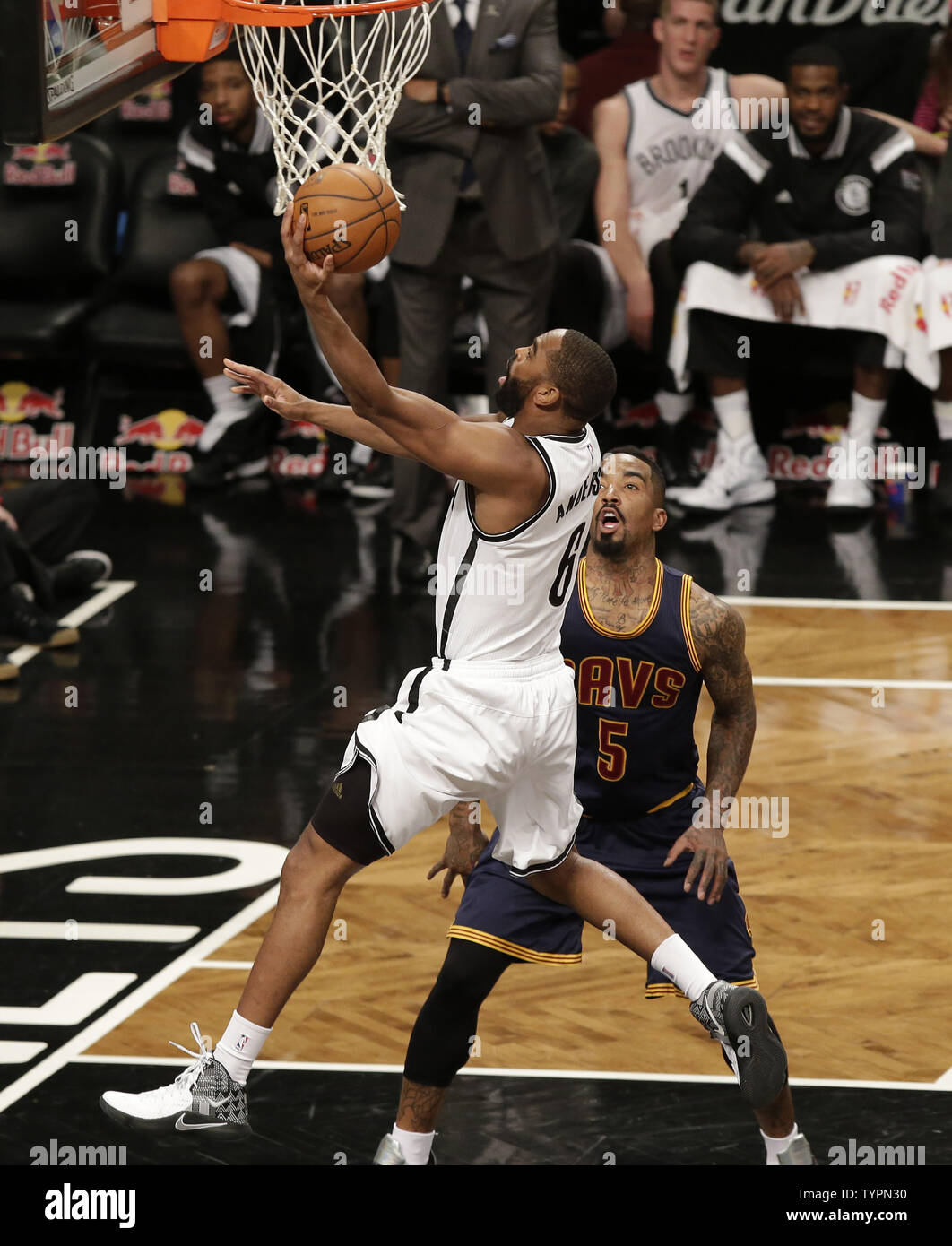 Brooklyn Nets Alan Anderson drives to the basket in in the first half against the Cleveland Cavaliers at Barclays Center in New York City on March 27, 2015. The Nets defeated the Cavaliers 106-98.     UPI/John Angelillo - Stock Image