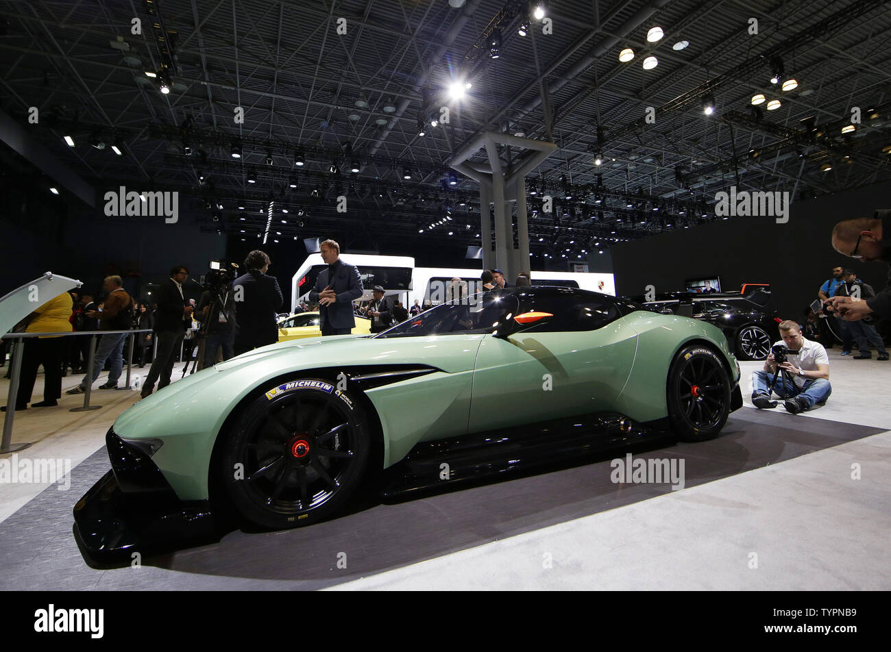An Aston Martin Vulcan is on display at the 2015 New York International Auto Show in New York City on April 1, 2015. The first New York Auto Show was held in 1900 and it was the first auto show ever held in North America. About 1 million visitors are expected to attend the show.      Photo by John Angelillo/UPI - Stock Image