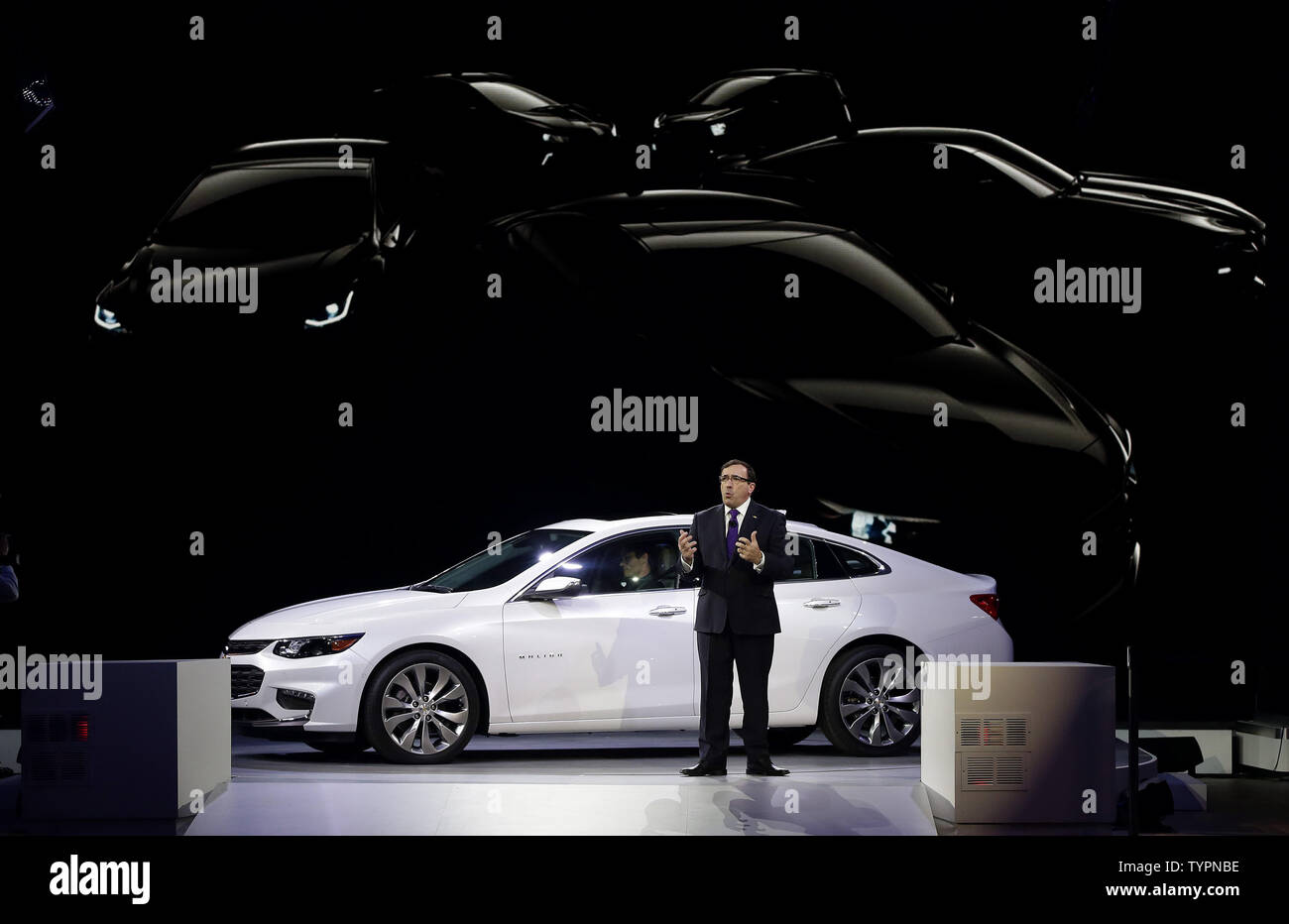 Alan Batey, President of GM North America, speaks at the unveiling of the 2016 all new Chevrolet Malibu at the 2015 New York International Auto Show in New York City on April 1, 2015. The first New York Auto Show was held in 1900 and it was the first auto show ever held in North America. About 1 million visitors are expected to attend the show.      Photo by John Angelillo/UPI - Stock Image