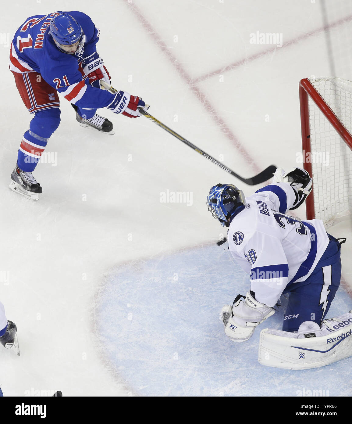 new products 7b98e f9b3b New York Rangers Derek Stepan gets a puck by Tampa Bay ...