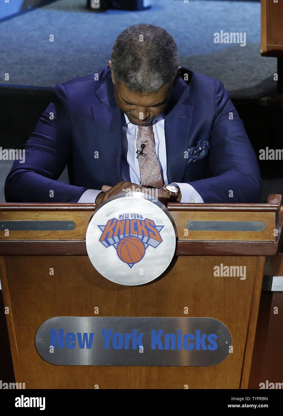 New York Knicks General Manager Steve Mills reacts when it