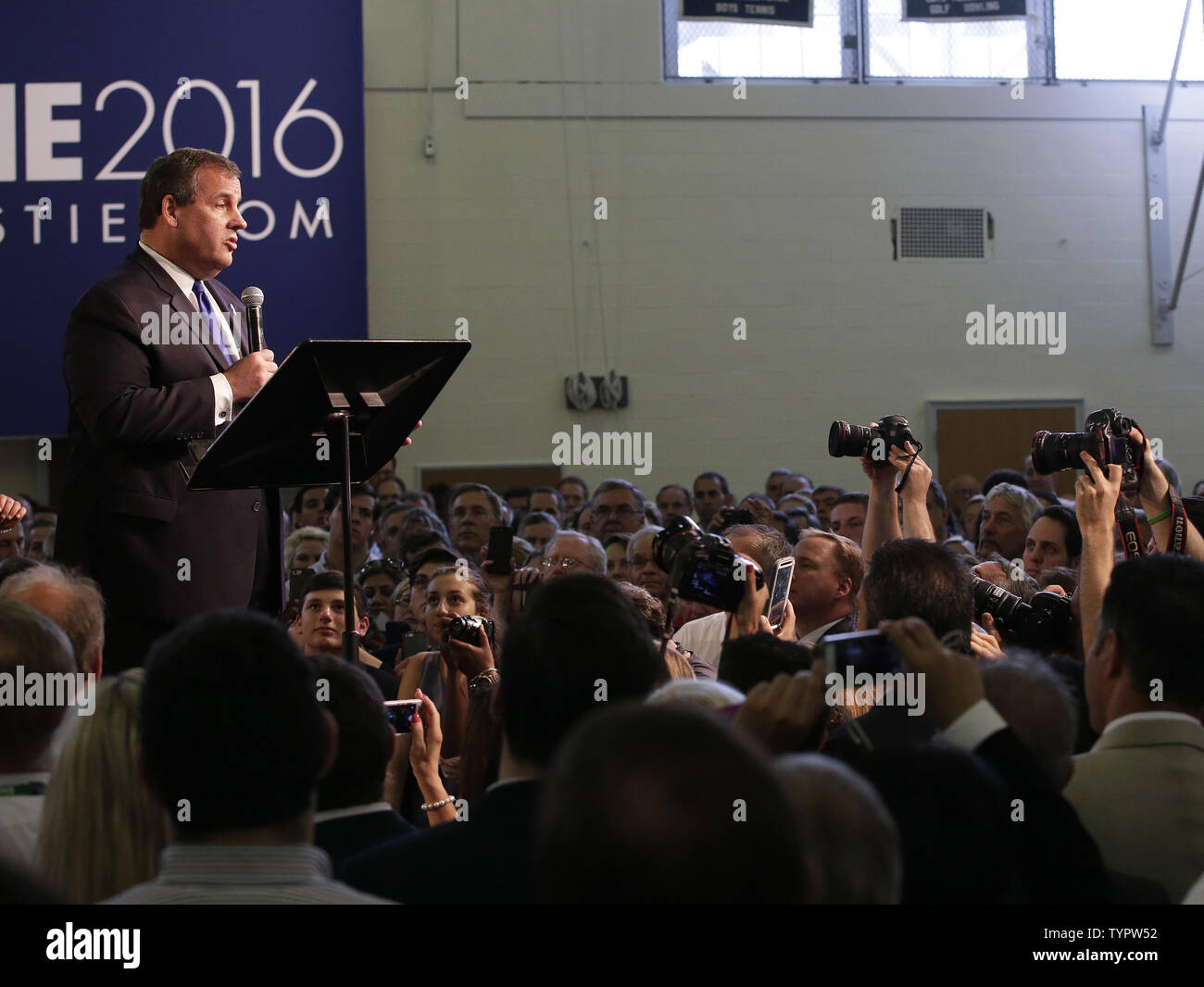 New Jersey Governor Chris Christie speaks on stage at his Presidential Campaign Launch in the Gym of Livingston High School in Livingston, NJ on June 30, 2015. Chris Christie is the 14th Republican running for the White House.         Photo by John Angelillo/UPI - Stock Image