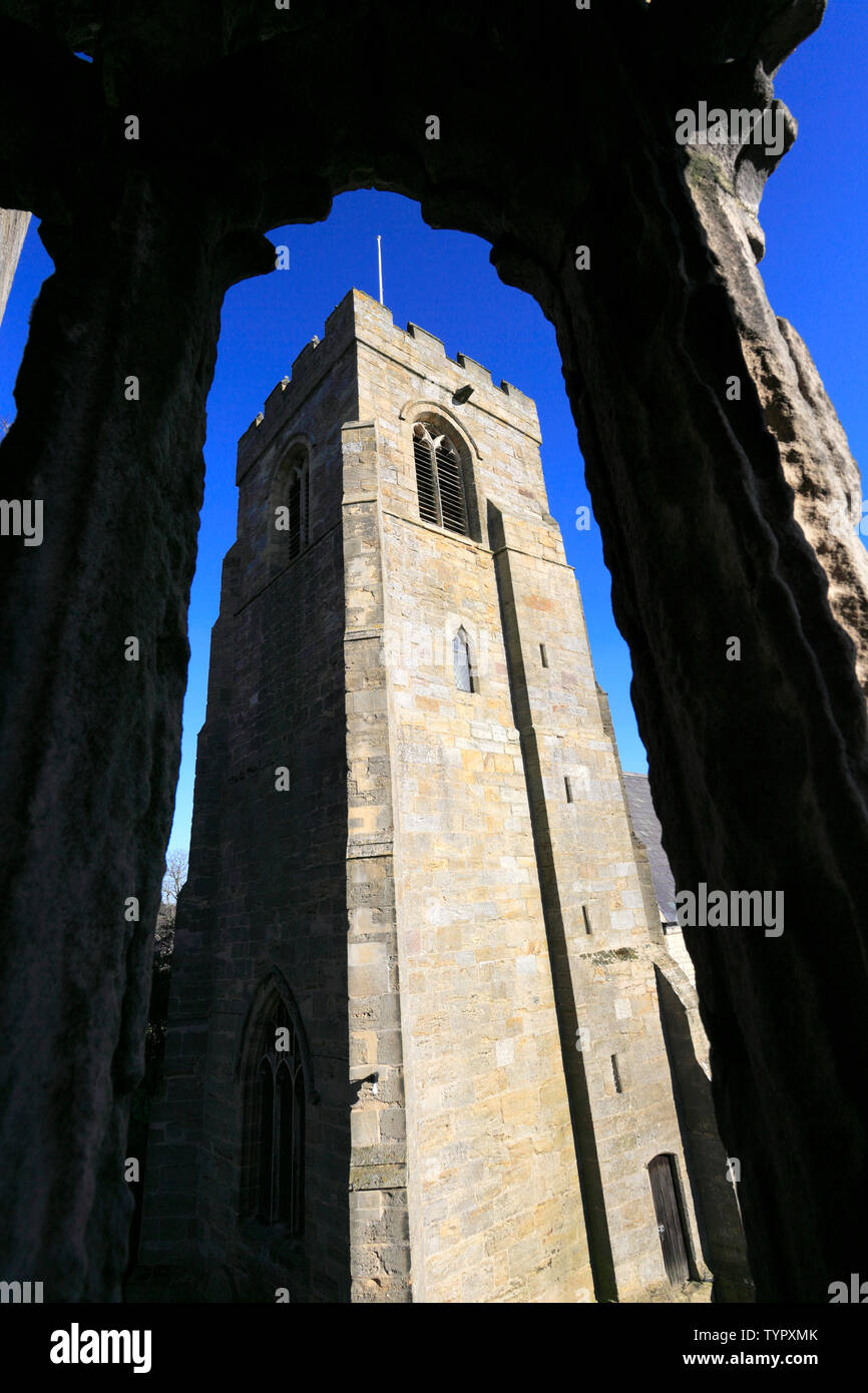 St Nicholas Church and the Marmion Tower, West Tanfield village, North Yorkshire, England Stock Photo