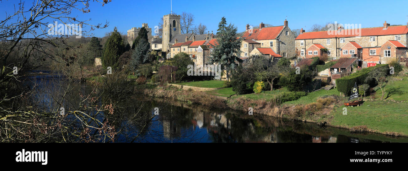 St Nicholas Church and the Marmion Tower, River Ure, West Tanfield village, North Yorkshire, England Stock Photo