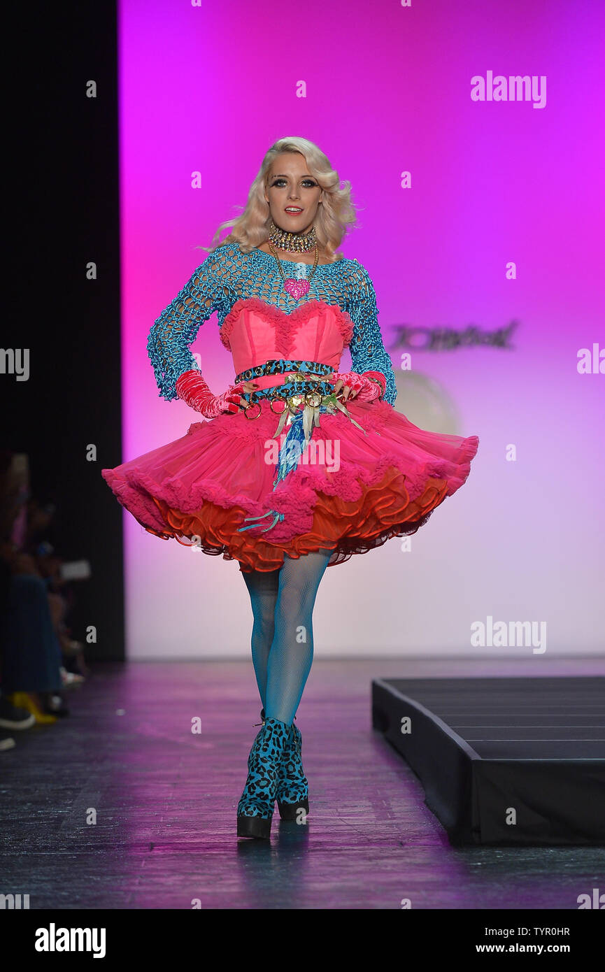 A model walks on the runway at the Betsey Johnson Fashion