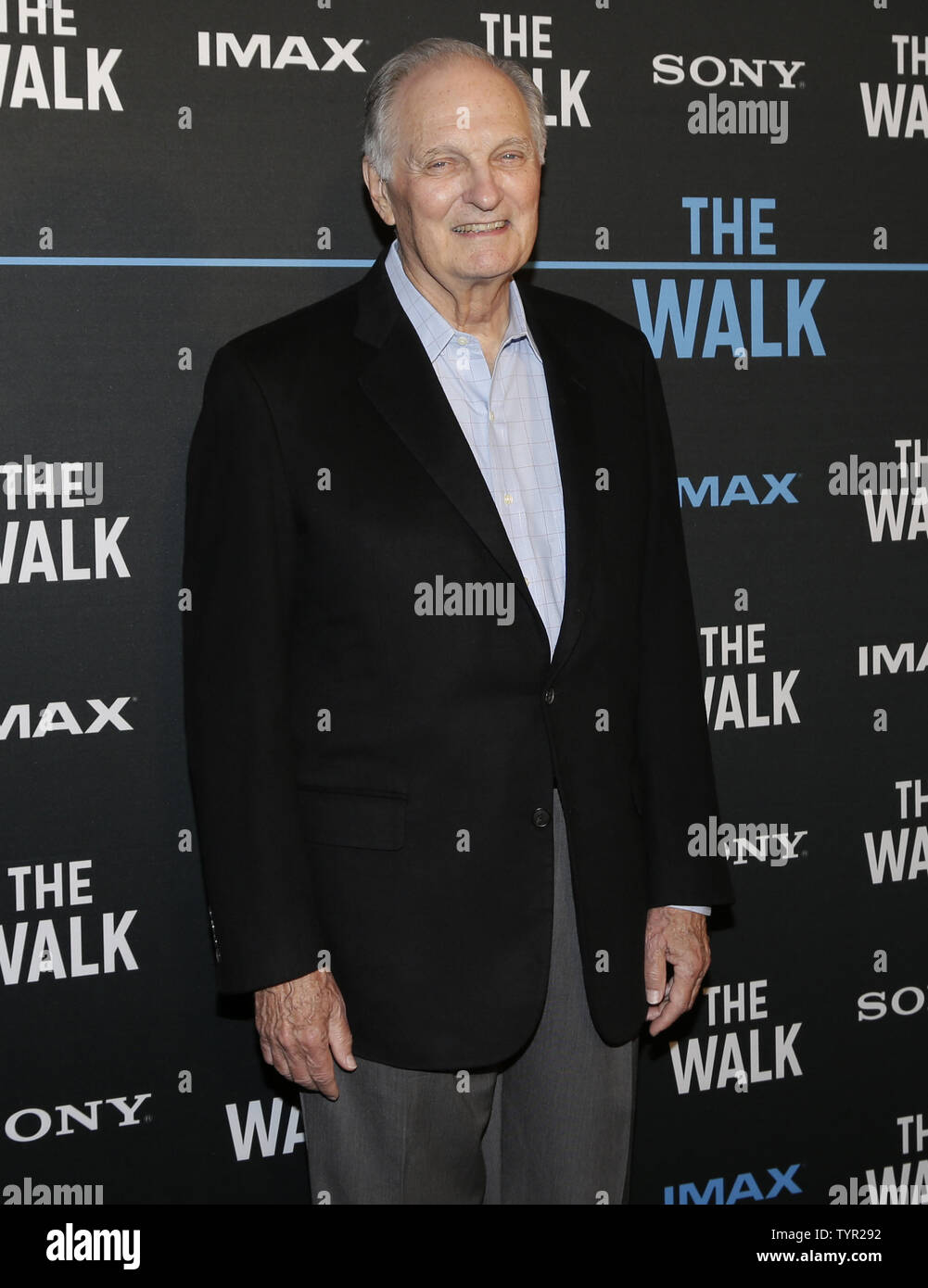 Alan Alda arrives on the red carpet at 'The Walk' IMAX Special screening at the AMC Lincoln Square Theater on September 28, 2015 in New York City.     Photo by John Angelillo/UPI - Stock Image