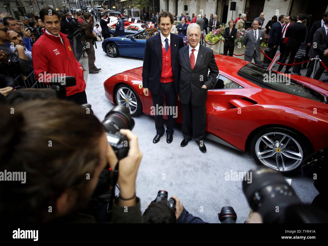 Fiat Chrysler Chairman John Elkann And Piero Ferrari Son Of Founder Enzo Ferrari Stand With A