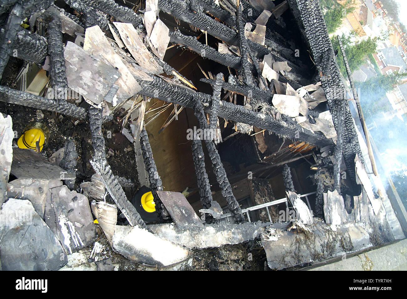 fire damaged house Stock Photo