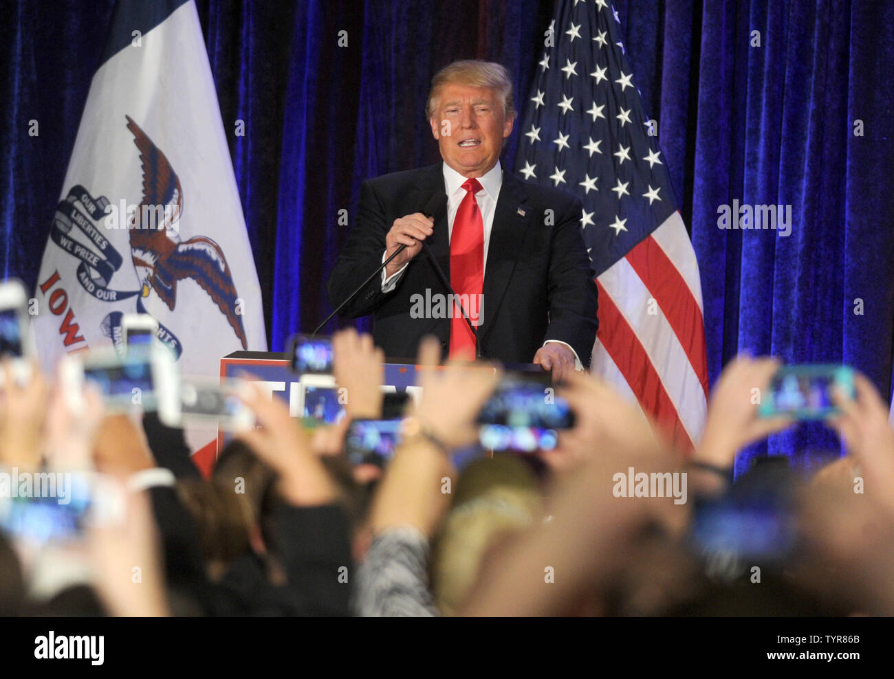 Republican presidential candidate Donald Trump speaks after coming in second place at his Iowa Caucus night gathering on February 1, 2016 in Des Moines, Iowa. Sen. Ted Cruz wins the Iowa Republican Caucus.     Photo by Dennis Van Tine/UPI - Stock Image
