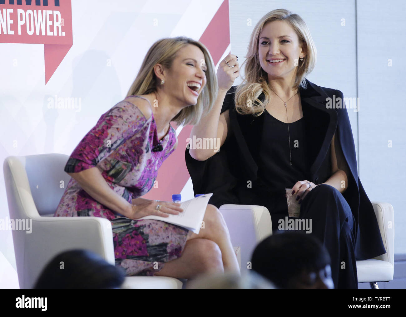 Amy Robach interviews Kate Hudson at the 4th annual Forbes Women's Summit at Pier 60 Chelsea Piers in New York City on May 12, 2016.     Photo by John Angelillo/UPI Stock Photo