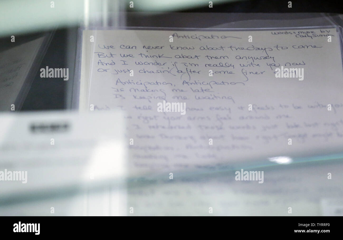 """A Carley Simon hand writte lyric sheet of """"Anticipation"""" is on display when 'TCM Presents Rock and Roll Through The Lens' sale at Bonhams New York auction house on March 27, 2017 in New York City. The sale featured Jimi Hendrix's recorder and the Abbey Road Studios recording console used to record Pink Floyd's album 'The Dark Side of the Moon'     Photo by John Angelillo/UPI Stock Photo"""