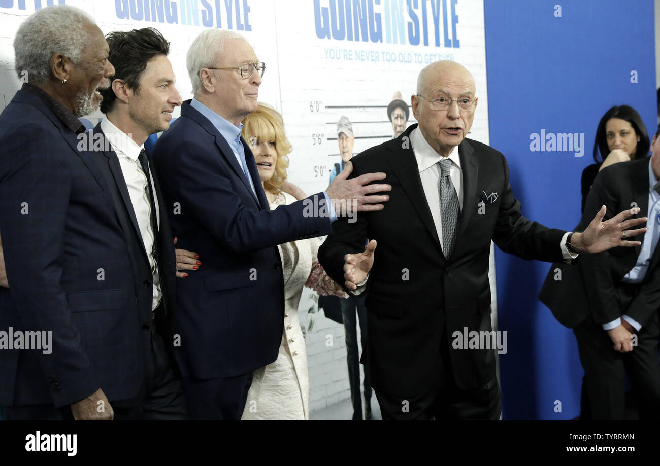 Morgan Freeman, Zach Braff, Michael Caine, Ann-Margaret watch Alan Arkin tell photographers to shut up when he arrives on the red carpet at the 'Going in Style' World Premiere at SVA Theatre on March 30, 2017 in New York City.    Photo by John Angelillo/UPI - Stock Image