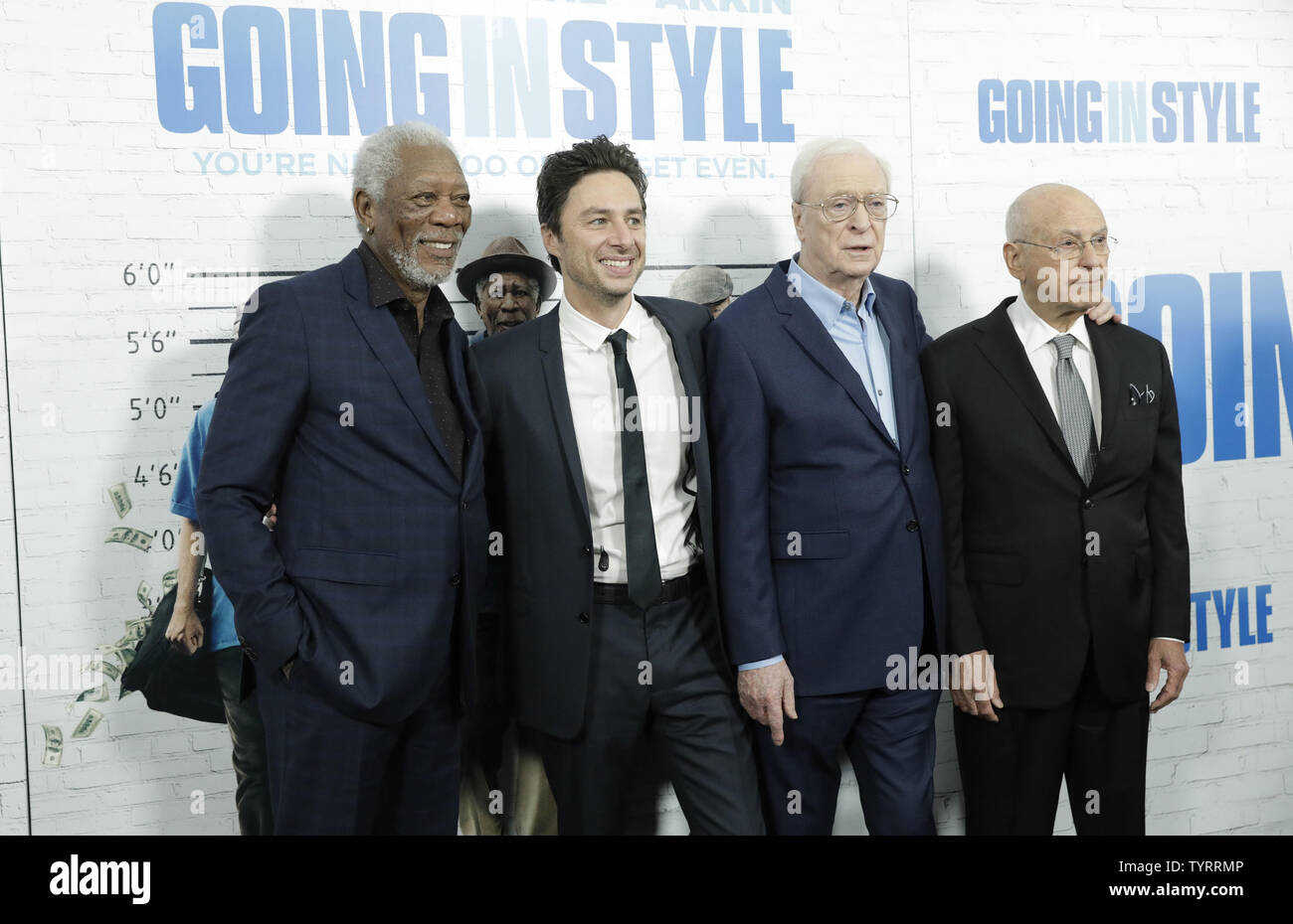 Morgan Freeman, Zach Braff, Michael Caine and Alan Arkin arrive on the red carpet at the 'Going in Style' World Premiere at SVA Theatre on March 30, 2017 in New York City.    Photo by John Angelillo/UPI - Stock Image