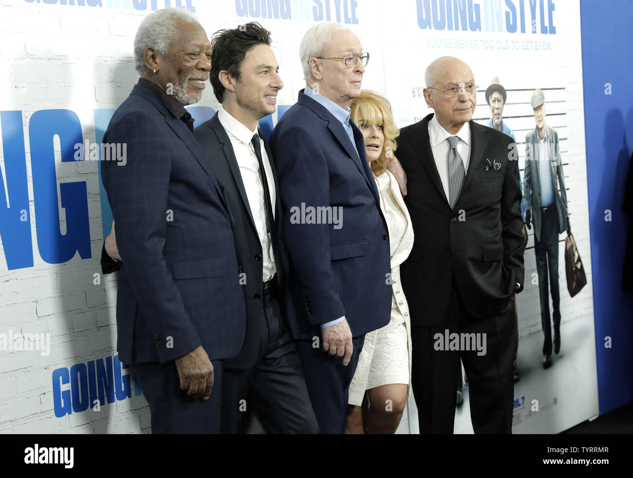 Morgan Freeman, Zach Braff, Michael Caine, Ann-Margaret and Alan Arkin arrive on the red carpet at the 'Going in Style' World Premiere at SVA Theatre on March 30, 2017 in New York City.    Photo by John Angelillo/UPI - Stock Image