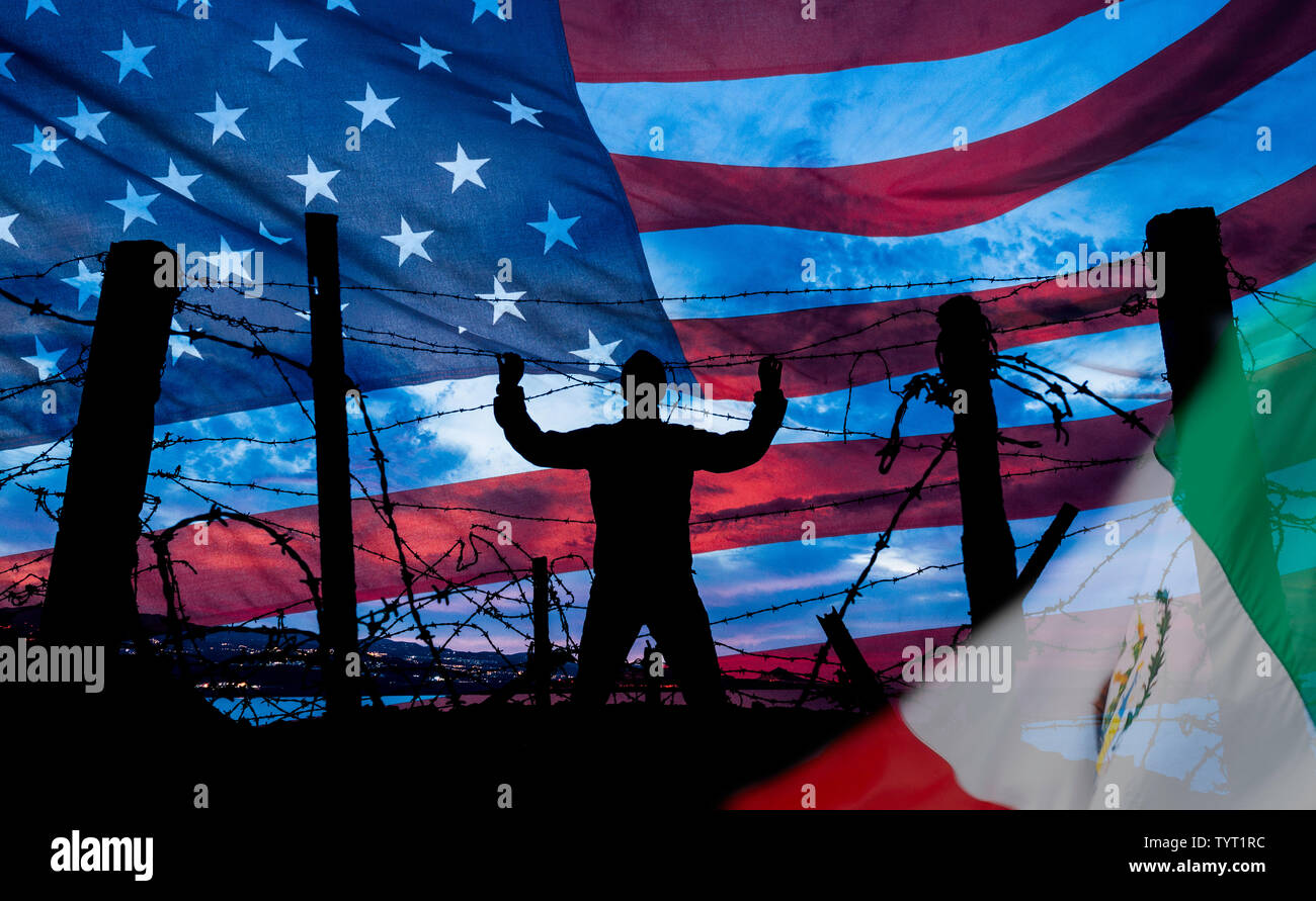 Man at barbed wire, razor wire fence with USA flag in background, Mexican flag in foreground. Immigration, border fence, Mexican border... concept Stock Photo