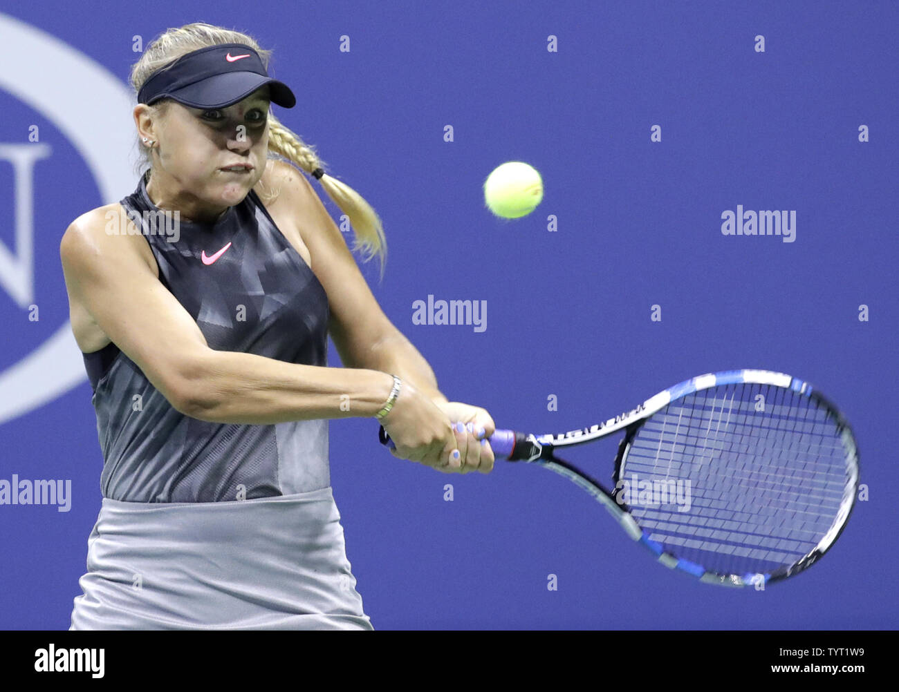 Sofia Kenin Hits A Backhand To Maria Sharapova Of Russia In Their 3rd Round Match On Day 5 In Arthur Ashe Stadium At The 2017 Us Open Tennis Championships At The Usta
