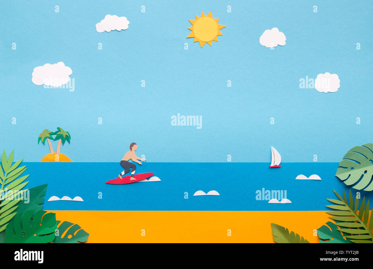 Summer Wallpaper With Sandy Beach Professional Surfer Stock