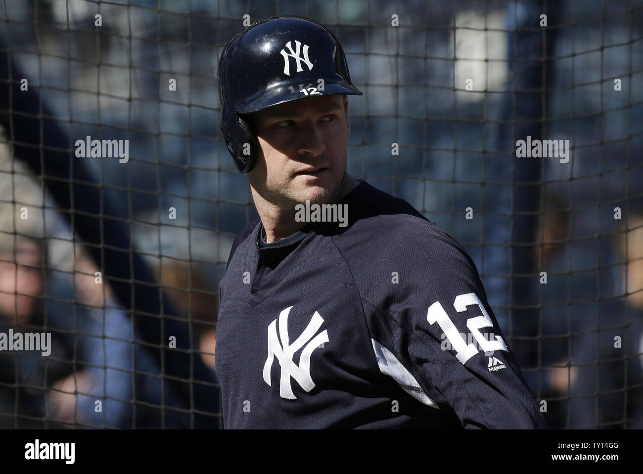 New York Yankees Chase Headley Waits To Take Batting Practice At A