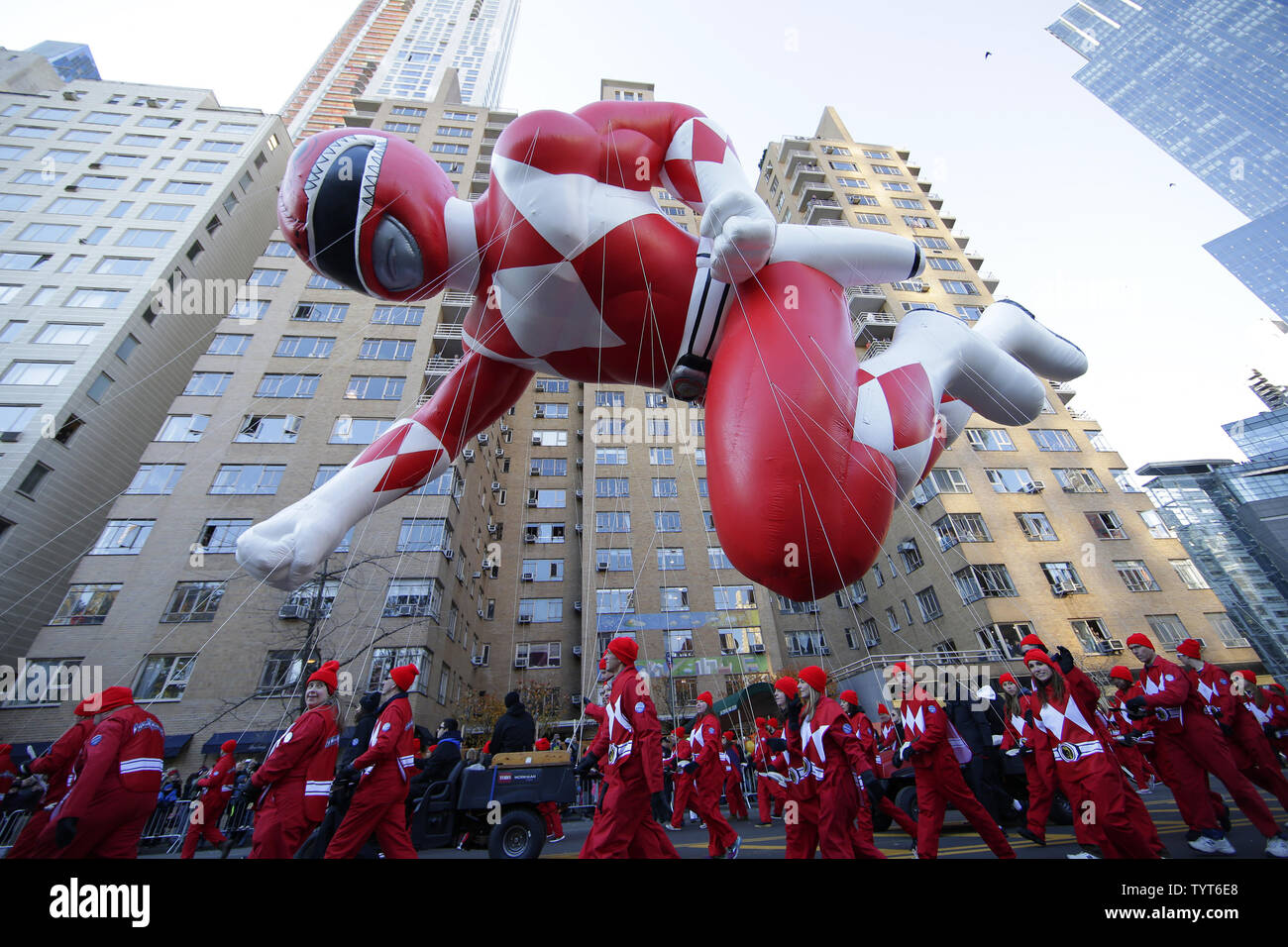Saban's Mighty Morphin Power Ranger Balloon moves down the parade route at the 91st Macy's Thanksgiving Day Parade in New York City on November 23, 2017.     Photo by John Angelillo/UPI - Stock Image