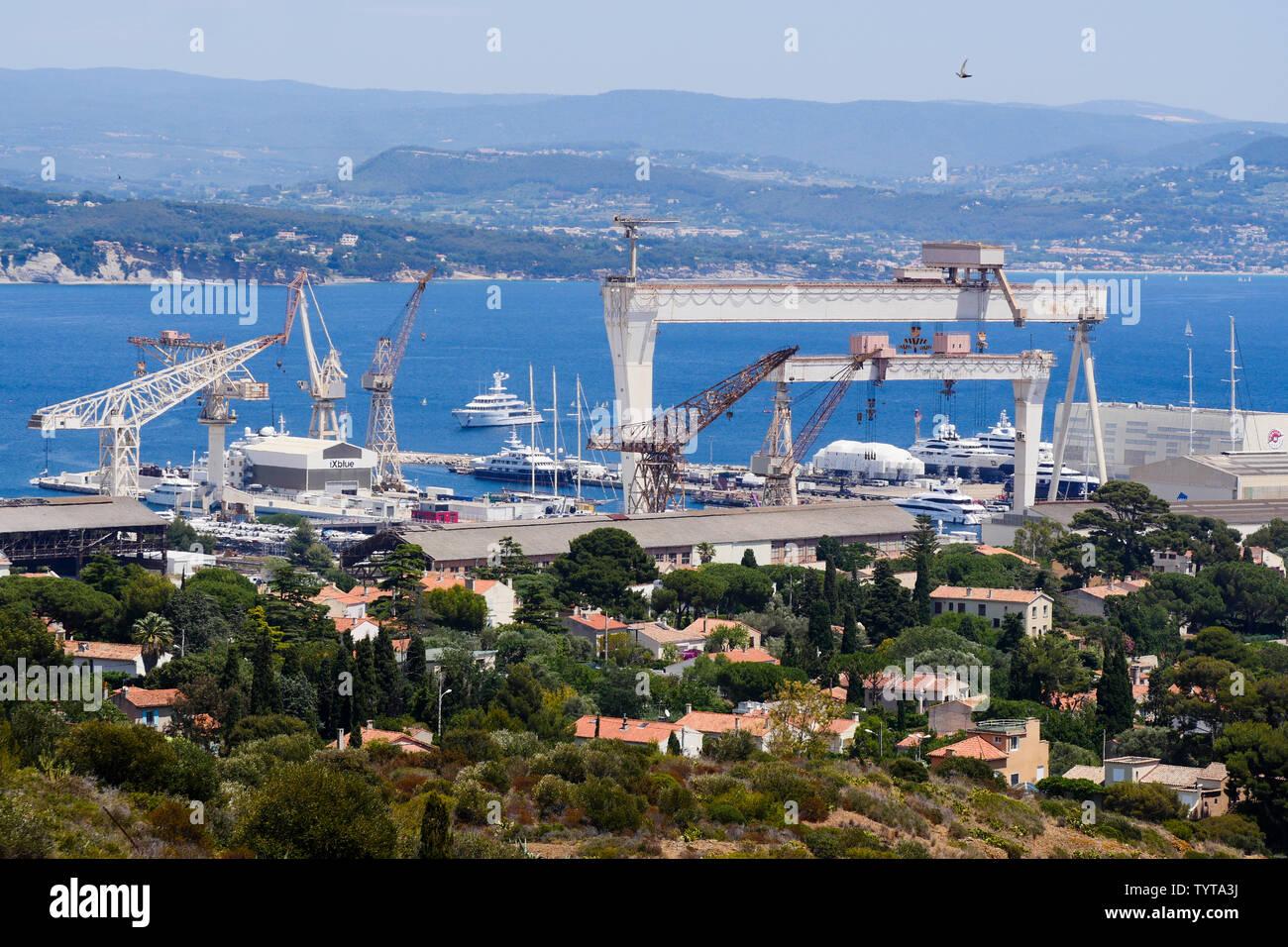 La Ciotat shipyard, La Ciotat, Bouches-du-Rhône, France - Stock Image